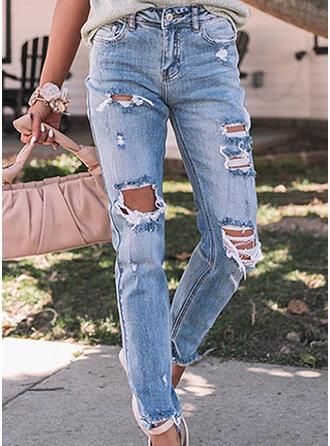Couleur Unie Treillis Longue Décontractée Grande taille Poche déchiré Jeans