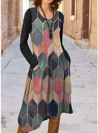 Color Block Long Sleeves A-line Casual Midi Dresses