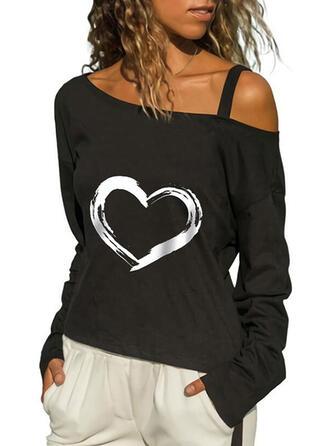 Heart Print One Shoulder Long Sleeves T-shirts