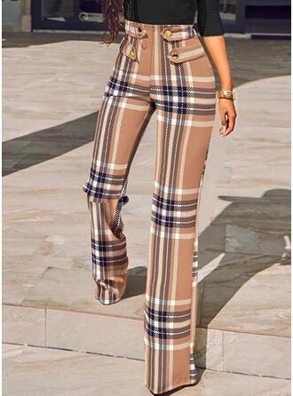 Carreaux Longue Décontractée Boutons Pantalon