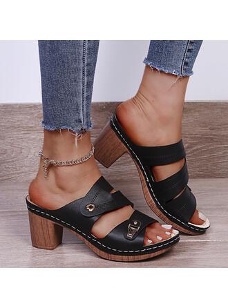 Femmes PU Talon bottier Sandales Escarpins À bout ouvert Chaussons Talons avec Boucle Ouvertes Couleur unie chaussures