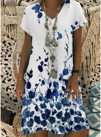 Print Short Sleeves Shift Knee Length Casual T-shirt Dresses