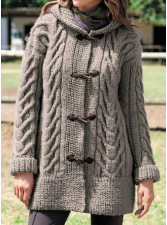 Solid Cable-knit Hooded Casual Long Cardigan