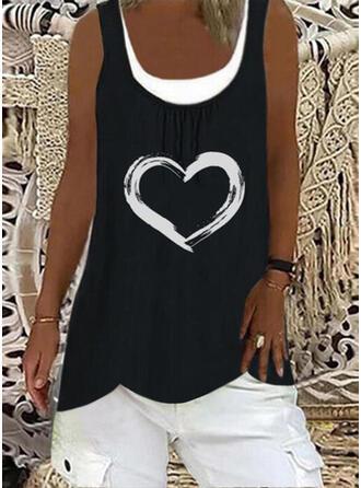 Heart Print Round Neck Sleeveless Tank Tops