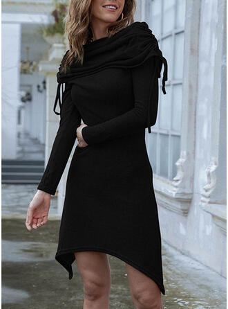 Solid Long Sleeves A-line Knee Length Little Black/Casual Skater Dresses