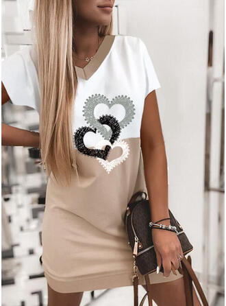 Print/Color Block/Heart Short Sleeves Shift Knee Length Casual T-shirt Dresses