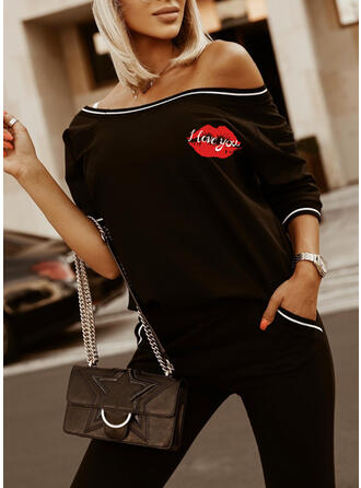 Print Sporty Casual Tee & Two-Piece Outfits Set
