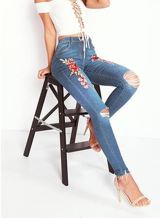 Floral Denim Cropped Casual Denim & Jeans