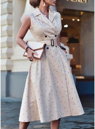 PolkaDot Sleeveless A-line Wrap/Skater Elegant/Office/Business Midi Dresses