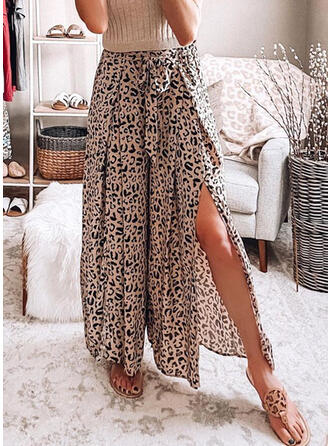 Leopard Long Casual High Opening Pants