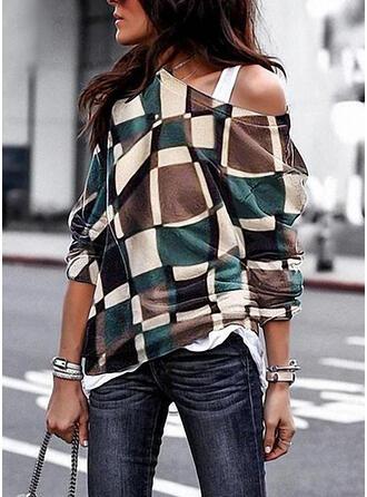Geometric Print Round Neck Long Sleeves Sweatshirt