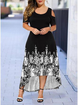 Plus Size Print Short Sleeves A-line Asymmetrical Casual Elegant Dress