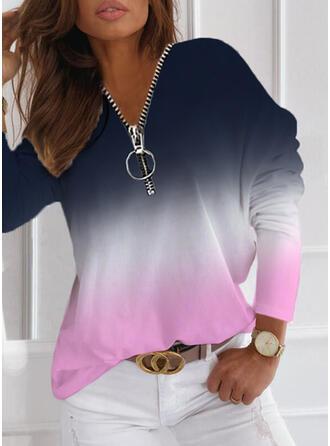 Pente Col V Manches Longues T-shirts