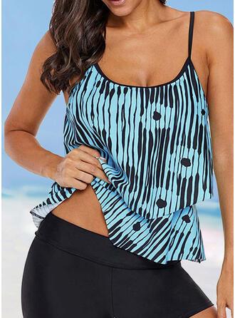 Stripe Print Strap U-Neck Elegant Classic Casual Tankinis Swimsuits