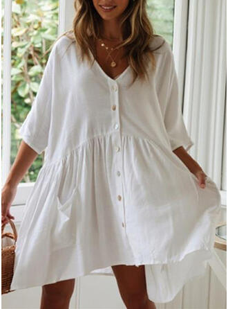 Solid Color V-Neck Elegant Classic Cover-ups Swimsuits