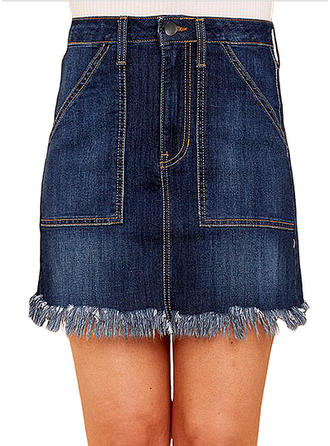 Denim Plain Above Knee Demin Skirts
