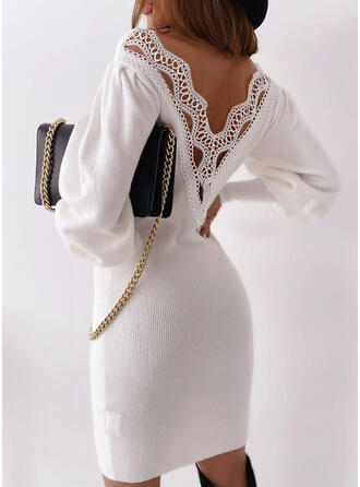 Sólido Encaje Cuello en V Casuales Largo Vestido de Suéter