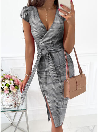 Plaid Short Sleeves Cap Sleeve Sheath Knee Length Elegant Wrap Dresses