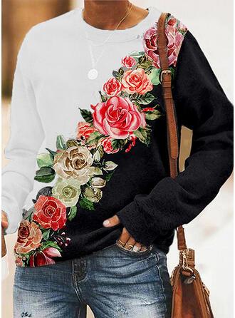 Impresión Trozos de color Floral Cuello Redondo Manga Larga Sudadera