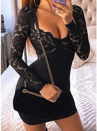 Solid Long Sleeves Bodycon Mini Sexy Dresses