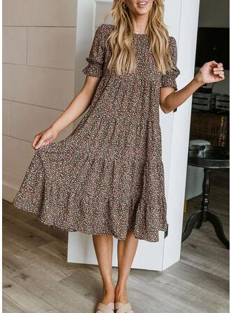 Floral Short Sleeves Puff Sleeve Shift Vacation Midi Dresses