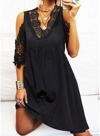 Lace/Solid 1/2 Sleeves A-line Knee Length Little Black/Casual Skater Dresses