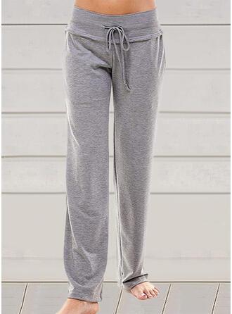 Solid Cotton Long Casual Plus Size Drawstring Pants