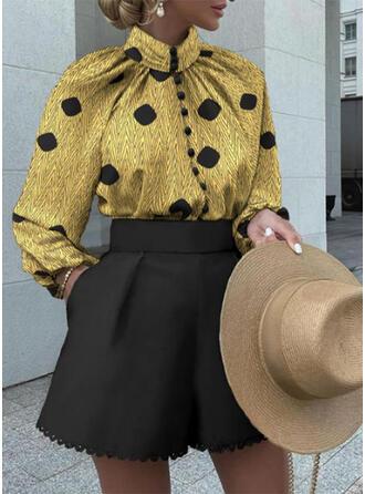 PolkaDot Color Block Plus Size Vintage Blouse & Two-Piece Outfits Set