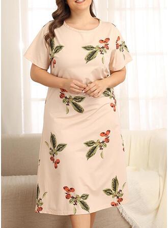 Round Neck Short Sleeves Print Plus Size Chic Night Dress