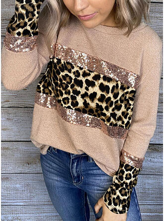 Bloque de color Lentejuelas Leopardo Cuello redondo Manga Larga Casual Tejido De Punto Blusas