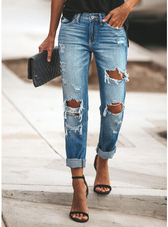 Shirred Ripped Long Casual Denim Plain Denim & Jeans
