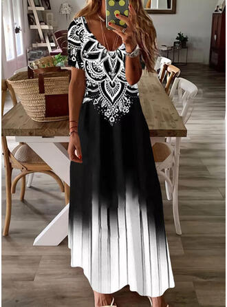Print/Gradient Short Sleeves Shift Casual Maxi Dresses