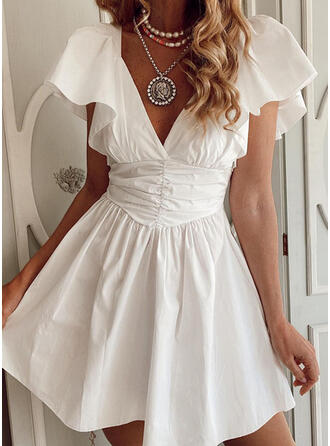 Solid Short Sleeves Ruffle Sleeve A-line Above Knee Elegant Dresses