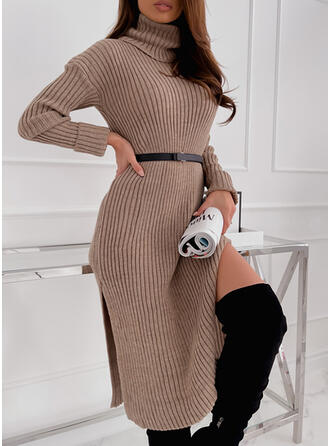 Solid Knit Long Sleeves Dropped Shoulder Sheath Sweater Elegant Midi Dresses