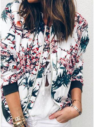 Long Sleeves Print Floral Jackets