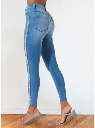 Denim Cropped Elegant Hot Drilling Denim & Jeans