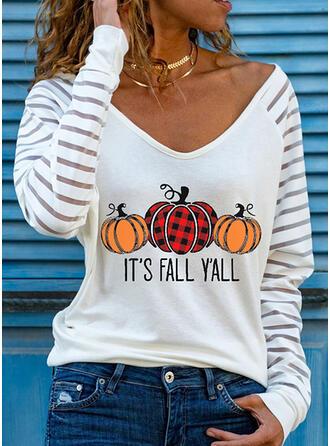 Halloween Carreaux Imprimé Letter Col V Manches Longues T-shirts