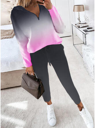 Estampado Casual Tamanho positivo camisolas & Roupas de Duas Peças Set ()