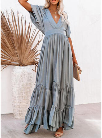 Solid 1/2 Sleeves/Batwing Sleeves A-line Skater Casual Maxi Dresses