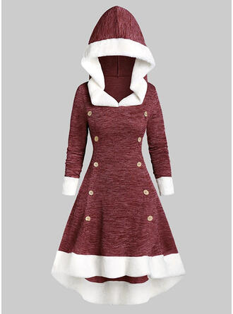 Color Block Long Sleeves A-line Skater Christmas/Casual Midi Dresses