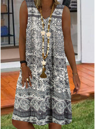 Print Sleeveless Shift Knee Length Casual/Boho/Vacation Tank Dresses