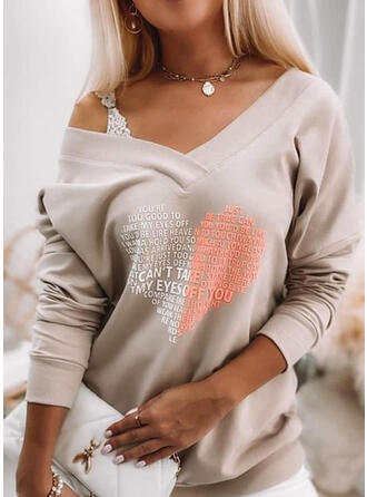 Saint Valentin Cœur Letter Col V Manches Longues T-shirts
