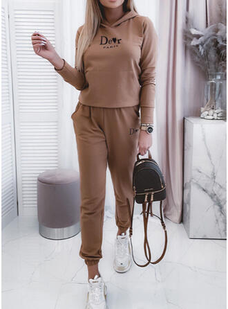 Print Shirred Plus Size Casual Sporty Suits