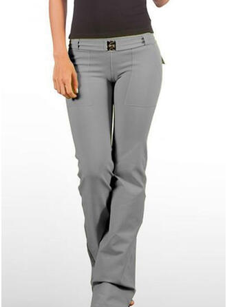 Solid Pockets Plus Size Casual Vintage Lounge Pants