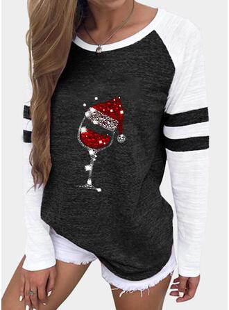 Navidad Impresión Trozos de color Cuello Redondo Manga Larga Casual Blusas