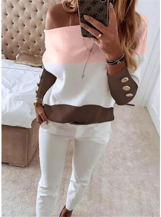 Colorido Casual Tamanho positivo blusa & Roupas de Duas Peças Set ()
