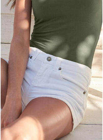Solid Pockets Solid Denim Shorts