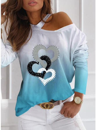 Print Gradient Heart One-Shoulder Long Sleeves Casual Blouses