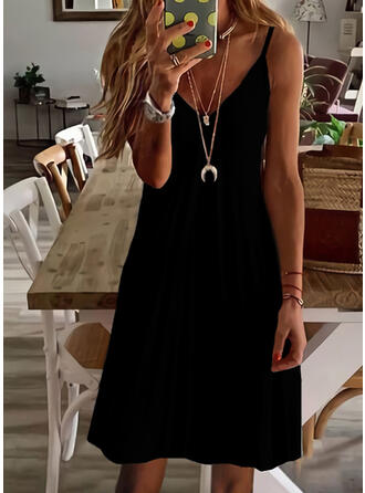 Solid Sleeveless Shift Above Knee Little Black/Casual/Vacation Slip Dresses