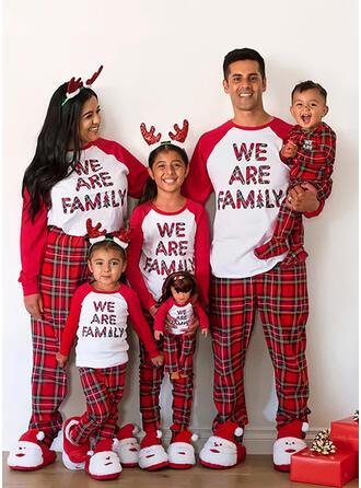 Bloc de Couleur Carreaux Letter Imprimé Tenue Familiale Assortie Pyjama De Noël